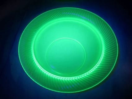 Uranium Plate Vintage Green Depression Glass Glows