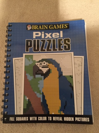 BRAIN GAMES PIXEL PUZZLES COLORING BOOK~FILL IN SQUARES WITH COLOR TO REVEAL HIDDEN PICTURES