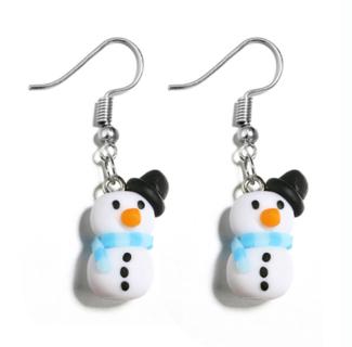 2 Pairs Women Earring 3D White Snowman