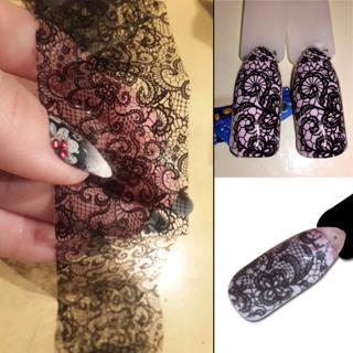 100cmx4cm New 2018 Black Lace Transfer Foil Nail Art Sexy Full Wraps Flower Glue Adhesive DIY Mani