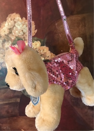 Poochie & Co Girls Plush Puppy Dog Purse (Pink) With Sequins. Shipped with USPS Retail Ground.