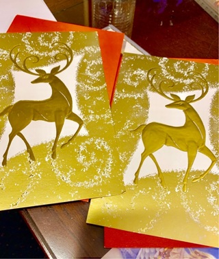 Lot of 2 Embossed GOLD REINDEER Holiday Cards w Matching Red Envelopes for ANYONE (men & women)