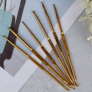 6pcs Golden Aluminum Double End Crochet Hook 2.0 - 7.0mm
