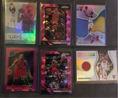 Wendell Carter Jr Rookie Auto,Jersey,Hyper Pink Prizm,Pink Ice,Purple & Pippen Pink Ice