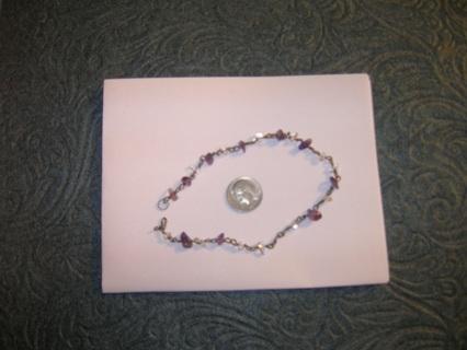 Amethyst/ Clear Crystal Quartz Chip Bracelet/Anklet (((GIN Bonus Gift)))