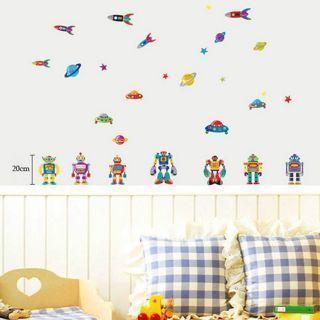 Robot Friend Home Kids Room Wall Decor Home Room Decoration Wall Art Sticker New
