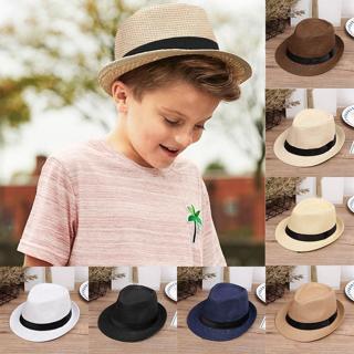 NewChildren Kids Summer Beach Straw Hat Jazz Panama Trilby Fedora Hat Gangster Cap Outdoor Breatha