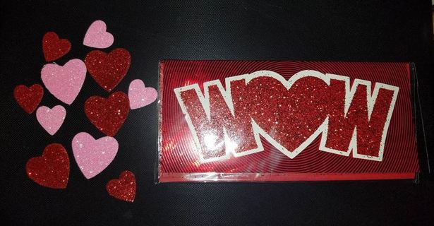 Valentine's Day Card With Added Glitter Hearts