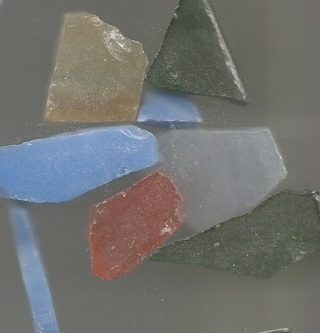 About 10 Mixed Color / Size Mosiac or Sea Glass - Most 10-20mm - Some Pieces Very Sharp