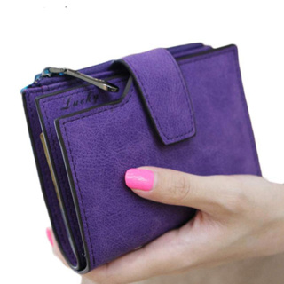 Women Purse Solid Color Mini Grind Magic Bifold Leather Wallet Card Holder Clutch