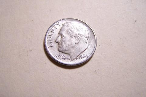 AU Silver 1964-D Roosevelt Dime