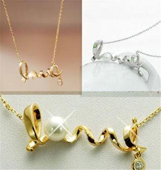 Gold /Silver LOVE Letter Pendant Chain Necklace