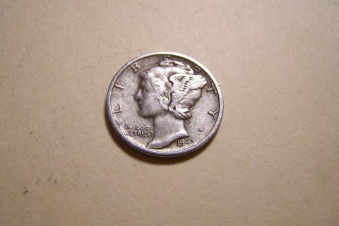 Silver 1943-S Winged Liberty Head Mercury Dime