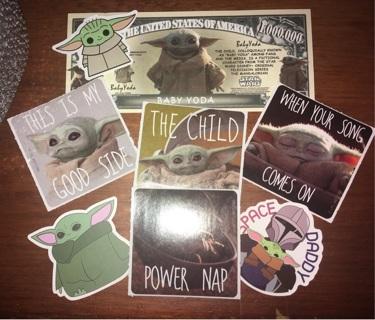 Baby Yoda Now 8 random Stickers memes Set w/Bill