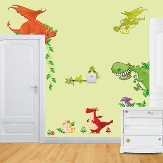 DINOSAUR Park WALL DECALS DIY Stickers Kids Bedroom Baby Boy Nursery Decor