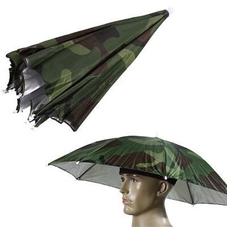 Foldable Outdoor Camo Umbrella Hat Cap Sun Shade Camping Fishing Hiking Brolly
