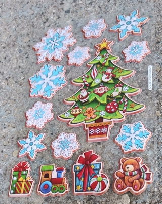 CHRISTMAS PLASTIC PUFFY STICKERS LOT 9