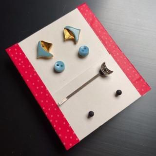 Cute lot: Vintage enameled earrings, button earrings, matte black studs & silver moon barrette