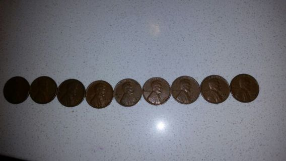 1950-1958 wheat back pennies.