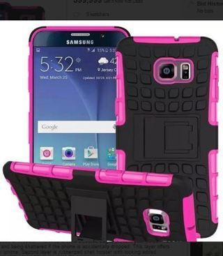 NEW SAMSUNG GALAXY s6 Pink HYBRID Case Scratch-Resistant Shock Absorbent Tire non slip Grip Stand