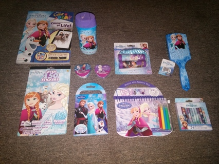 Disney FROZEN Lot -  All NEW items (Body Wash, Activity Books, Stickers, Crayons, Hair Brush, etc.)