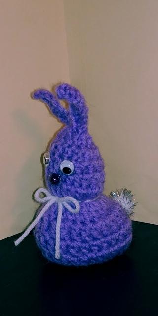 Crochet Bunny Rabbit (B-7607) Lavender /White trim