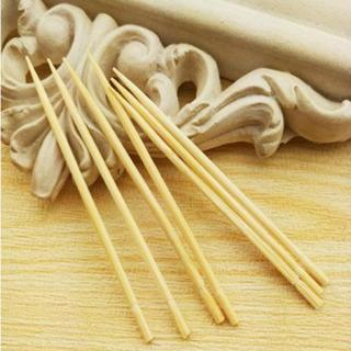 [GIN FOR FREE SHIPPING] 200X Natural Bamboo Disposable Toothpicks Oral Dental Pick Cleaning Brush