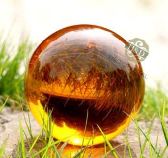 Amber Asian Rare Natural Quartz Magic Crystal Healing Ball Sphere 40mm + Stand