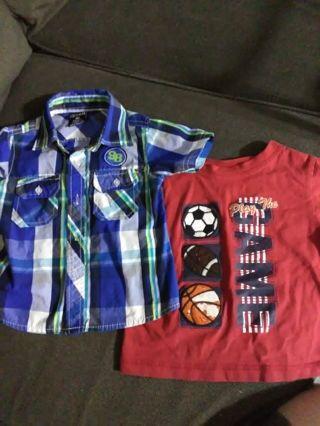 Pair of boys 18mo short sleeve shirts