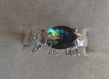 RADIANT STERLING SILVER ELEPHANT RAINBOW & WHITE TOPAZ RING SZ 7.5 FREE SHIP! FREE GIFT!