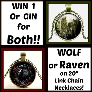 """New! WOLF & RAVEN Spirit Animals GLASS DOME Pendant Necklaces in BRONZE Tone Bezels on 20"""" Chains!"""