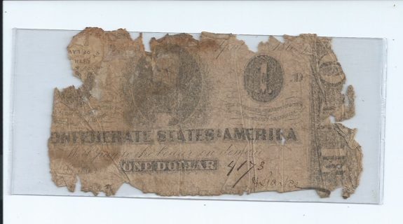 1863 $1 CSA Confederate States of America Civil War Currency Note Clement C. Clay vignette Type 62