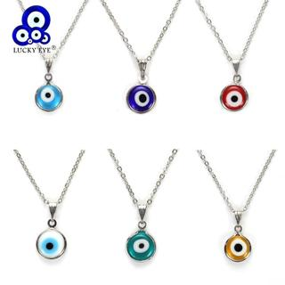 Lucky Eye Colorful Evil Eye Pendant Choker Necklace Resin Charms Necklace Jewelry For Women Men Ha