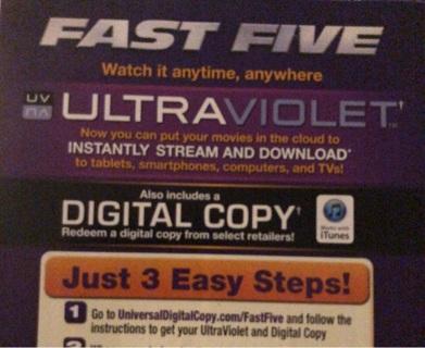 Fast Five IV digital copy