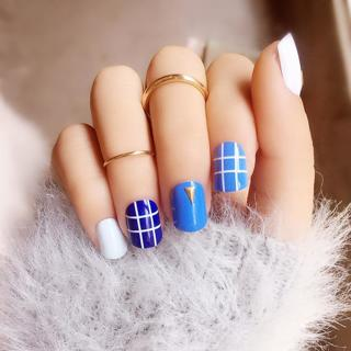 20 Style Choose Fake Nail Art Latticed Striated Decoration Short Square Head Full Cover False Nail