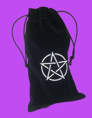 Tarot cards or charms bag black pentagram drawstrings New Free ship