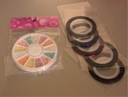 Brand New: Package of Nail Rhinestones AND 5 Colorful Nail Strips