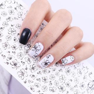 2 Sheets Line Flower Water Decals Drawing Manicure Nail Art Transfer Sticker