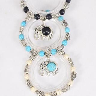 6 Pack Elephant Bracelet Lot