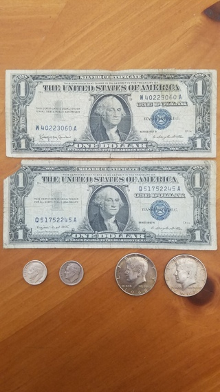 2 Silver Kennedy 1/2 Dollars, 2 $1 Silver Certificates, AND 2 Silver Roosevelt Dimes! W/GIN Bonus!