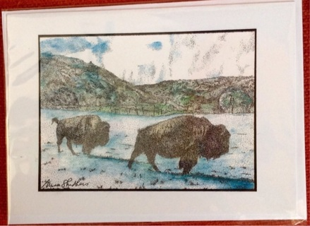 "THREE BISON - 5 x 7"" Art Card by artist Nina Struthers - GIN ONLY"