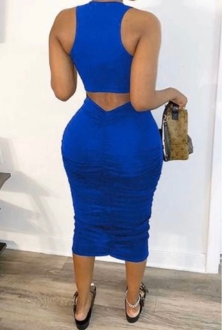 Blue Bodycon rouched Dress Small