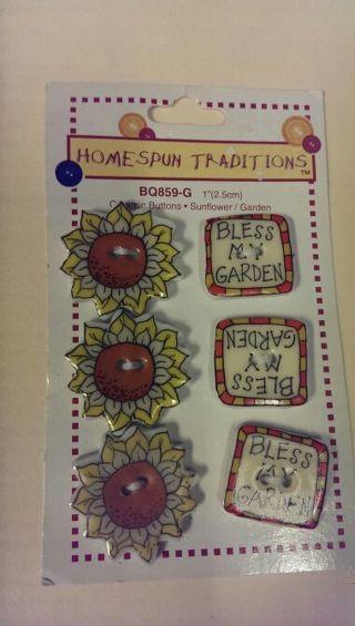 Ceramic Buttons -- Sunflower and Garden