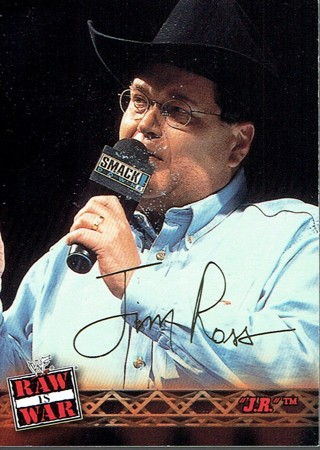 WWE WWF RAW Is WAR Fleer 2001 Collectible Facsimile Autograph Card #8 Jim Ross (AS IS)