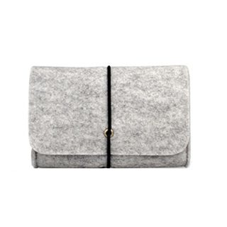 Storage Bag Felt Pouch For Data Cable Power Bank Travel Organizer Electronic Gadget Mini