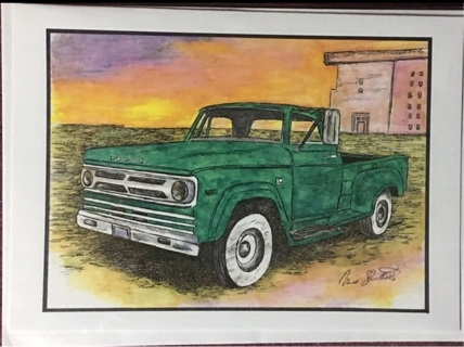 "GREEN DODGE TRUCK - 5 x 7"" art card by artist Nina Struthers - GIN ONLY"