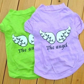[GIN FOR FREE SHIPPING] Puppy Dog Clothes Green and Red Angel Wing Shirt Tops Summer