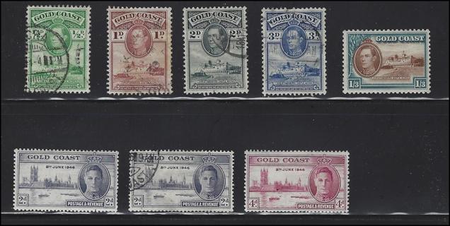1938-46 Gold Coast stamps (8), MH/U/VF, with Scott IDs, est Scott CV $7.30