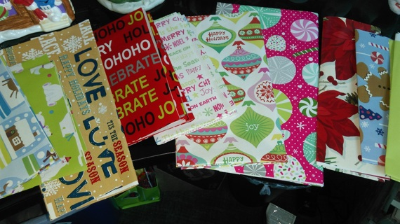 <Christmas Wrapping Paper Scraps> *RANDOM* asst- (3 sml) for your paper crafts