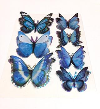 Blue 3d butterfly stickers